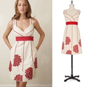 Anthro Floreat Coral Way Embroidered Dress Size 6
